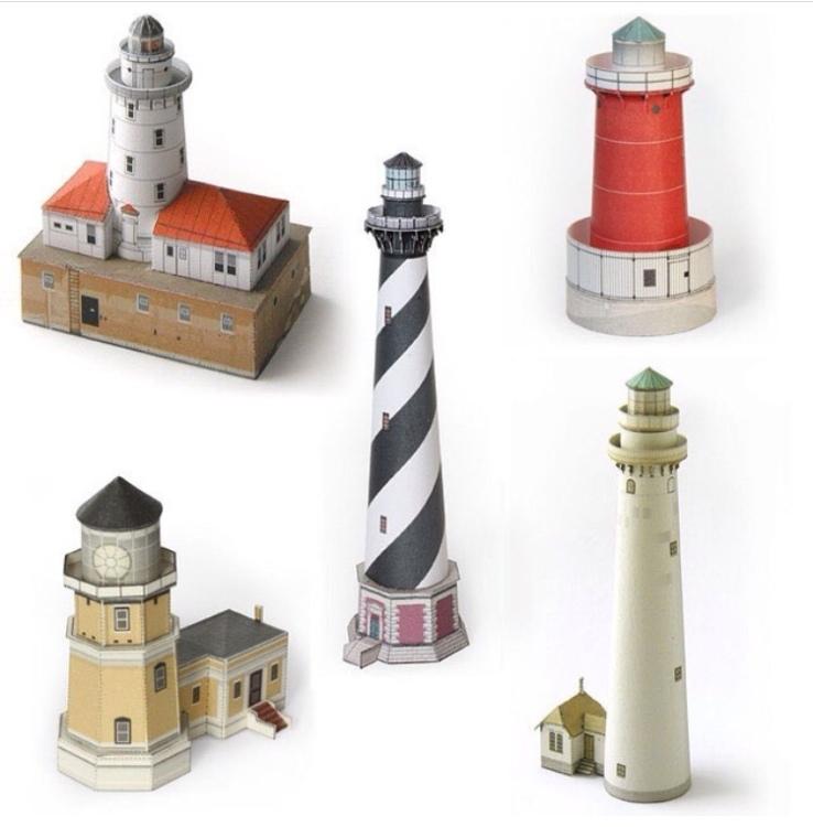 Wurlington Bros. Press Paper models Chicago Illinois Lake Michigan Lighthouses