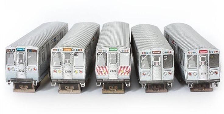 Wurlington Bros. Press Paper models Chicago Illinois Chicago Transit Authority trains